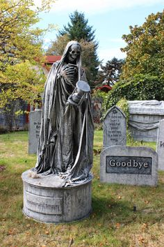 by Josh C Lyman - Every day is Halloween Halloween Graveyard, Halloween Tombstones, Halloween Prop, Outdoor Halloween, Diy Halloween Decorations, Holidays Halloween, Halloween Witches, Happy Halloween, Cemetery Statues