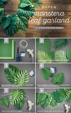 Get Your Party Sizzlin' with This Tropical Paper Leaf Garland! – – Hadi Pin Get Your Party Sizzlin' with This Tropical Paper Leaf Garland! – Get Your Party Sizzlin' with This Tropical Paper Leaf Garland! Leaf Garland, Diy Garland, Diy Deko Party, Deco Jungle, Jungle Safari, Fleurs Diy, Paper Leaves, Diy Papier, Dinosaur Birthday Party