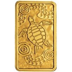2008 Australia - TURTLE DREAMING rectangular $25 10gm Gold Proof coin.   The rectangular coin is the perfect shape for the Indigenous-style art portrayed on the reverse.  Created by Darryl Bellotti, an Indigenous artist of both Yamatji and Nyoongar descent, the design is inspired by his boyhood memories of a hunting trip in north-western Australia. The turtle is surrounded by patterns of dots, symbolising the hunters' journey, and circles, representing the places where they stopped.