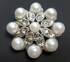 4 pieces button Crystal button Pearl button by lovesparkleville, $9.99