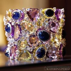 How spectacular is this #cuffbracelet by #Saboojewels @saboofinejewels featuring #diamonds, #amethysts and multicoloured #sapphires Photographed by @martner for #katerinaperezcom