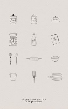 This bundle includes 50 unique Kitchen illustrations which you can use for logos, recipe cards, stationery, patterns and much more. This design kit is drawn in Illustrator, vector based and high quality. Bakery Logo Design, Menu Design, Bakery Branding, Baking Packaging, Baking Logo, Instagram Highlight Icons, Meaningful Tattoos, Recipe Cards, Unique Tattoos