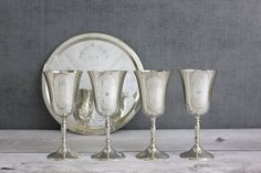 Silverplate Glass Tray Set Cordial Wine by OldVintageGoodies, $45.00