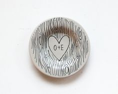 custom faux bois ring dish with heart illustration and initials - hand drawn monogrammed design on Etsy, $22.00
