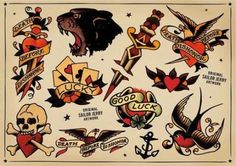The Best Temporary Sailor Jerry Collection tattoos. Only EasyTatt Sailor Jerry Collection Tattoos Look Real, Use Your Own Design or Choose from Thousands of Designs. Flash Art Tattoos, Retro Tattoos, Vintage Style Tattoos, Trendy Tattoos, Fake Tattoos, Tattoo Vintage, Leg Tattoos, Sailor Jerry Flash, Sailor Jerry Swallow