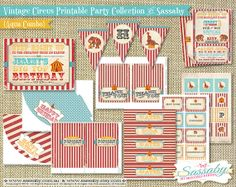 Vintage Circus Party Collection  Aqua Combo Birthday by Sassaby, $34.95