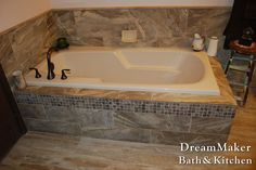Tiled tub surround for a drop in tub.