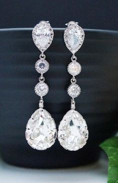 We'd love to wear these diamond drop earrings on our wedding day!