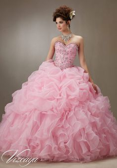 Quinceanera Dress  Vizcaya Morilee 89075 Ruched organza skirt with beaded bodice Colors: Pink, Light Aqua, Coral and white