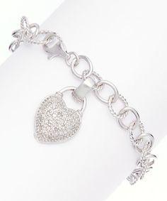 Love this 0.25-tw Diamond & Sterling Silver Heart Charm Bracelet on #zulily! #zulilyfinds