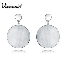 New Silver Color Large Round Dangle Earrings for Woman Punk Metallic Fashion Jewelry Female Earrings  #redcarpet #couturier #picoftheday #LSN #loveit #people #photooftheday #glam #pretty #blue