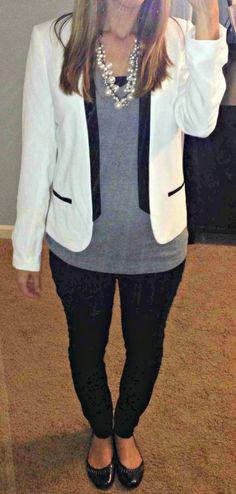 bd608840bc9 White tuxedo jacket gray shirt pearl cluster necklace White Tuxedo Jacket,  Gray Jacket, Gray