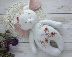"Fleece toy for children ""Easter Bunny"" with embroidery flowers/ Fleece bunny/ fleece rabbit/ plush bunny/ heirloom toy/ Easter Bunny"
