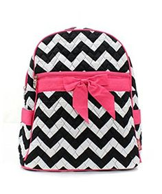 dd219ed6eb61 Quilted Black And White Chevron Medium Backpack With Hot Pink Accents. This  cute medium sized chevron backpack would be great as a purse or small  backpack.