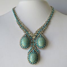 A Haute Couture rhinestone and turquoise glass necklace by Max Muller.