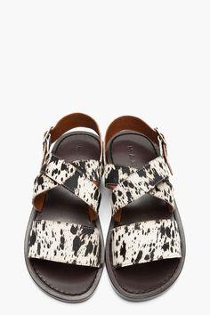 MARNI White Spotted Calf-Hair Flat Sandals