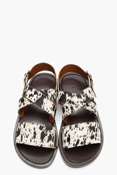MARNI White Spotted Calf-Hair Flat Sandals