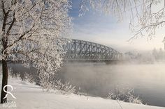 Photo print of winter landscape, with bridge over foggy river, print to frame for your wall. $8.00, via Etsy.