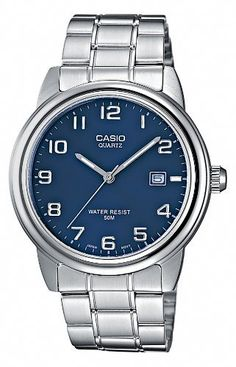 Casio Mtp1221A2Avef Gents Watch Quartz Analogue Blue Dial Silver Steel Strap ** You can find out more details at the link of the image.