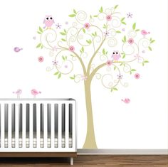 Vinyl Wall Decals Wall Sticker with Owl Bird Flower by Modernwalls, $99.00