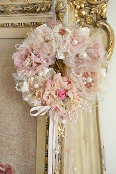 This listing is for one beautiful handmade ribbon work wreath by Jennelise Rose. This one of a kind wreath features a beautiful cream, pink, and