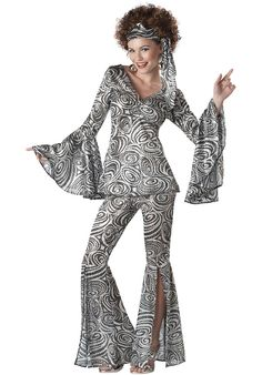 Women's Foxy Lady Disco Costume - Slip into this far-out Foxy Lady Disco Costume, and you'll look ready for the ultimate dance party! This wild costume has all the glitz and glamour of disco in one wicked outfit. Disco Costume For Women, Costume Disco, Costumes For Women, Disco Outfits For Women, Costume Craze, Hippie Costume, Retro Costume, 70s Outfits, Hippie Outfits