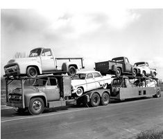 1954 Ford pickup trucks on Car carrier Cool Trucks, Big Trucks, Pickup Trucks, Semi Trucks, Ford Classic Cars, Classic Trucks, Chevrolet Silverado, Buy Used Cars, Car Carrier