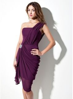 short, one-shouldered, form-fitting draped material