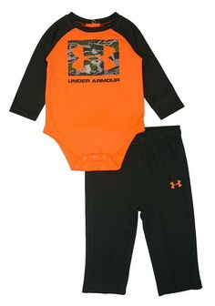 17dcd68f0 Under Armour Infant Boys Orange & Green Logo Bodysuit 2pc Pant Set Size  6/