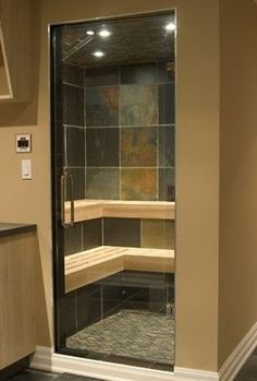 compact shower cubicle offers dry sauna, steam bath and shower, revolution by carmenta Small Basement Bathroom, Bathroom Sink Decor, Small Space Bathroom, Downstairs Bathroom, Bathroom Renos, Bathroom Ideas, Small Spaces, Basement Sauna, Basement Plans