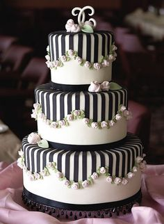 Black and White Wedding Cake- A black and white palette looks beautiful when embellished with rosettes and stripes.