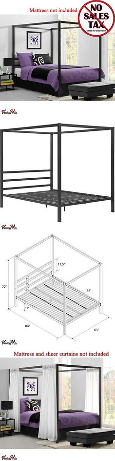 Beds and Bed Frames 175758: Metal Canopy Bed Frame Queen Size W Headboard Platform Modern Bedroom New -> BUY IT NOW ONLY: $190.49 on eBay!