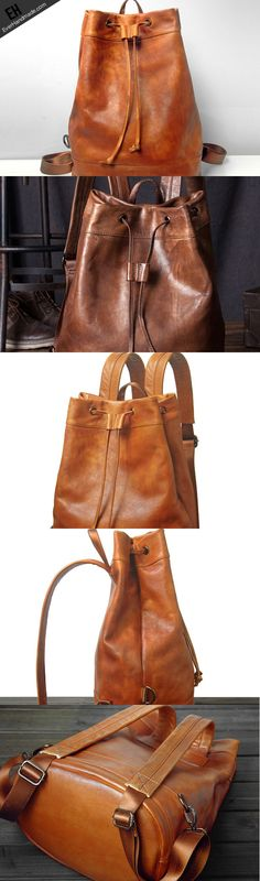 Handmade Leather satchel bag backpack women bag men