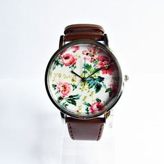 Autumn Fall Floral Watch Vintage Style Leather Watch by FreeForme