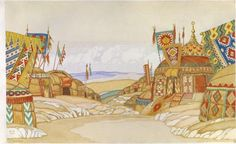 The Polovtsi Camp (1930), set design by Ivan Bilibin [Иванъ Яковлевичъ Билибинъ] (1876-1942), for Act 2 of Prince Igor [Князь Игорь] (1890), by Alexander Borodin [Александръ Порфирьевичъ Бородинъ] (1833-1887), Nikolay Rimsky-Korsakov [Николай Андреевичъ Римскій-Корсаковъ] (1844-1908), and Alexander Glazunov [Александръ Константиновичъ Глазуновъ] (1865-1936).