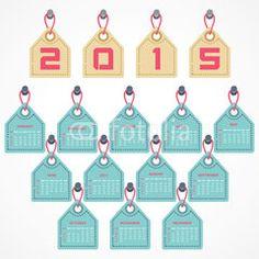 Calendar of 2015 with hanging label design