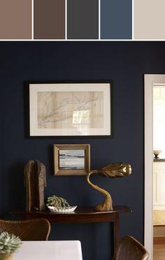 Dark Navy Wall Color Designed By Lisa Perrone   Stylyze Creative Director via Stylyze