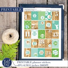 ADVENT CALENDAR mint, green, blue and wood. There are 25 Christmas boxes x based on December green Printable Planner Stickers, Printables, Christmas Boxes, Planner Tips, Erin Condren, Mint Green, Advent Calendar, December, Holiday Decor
