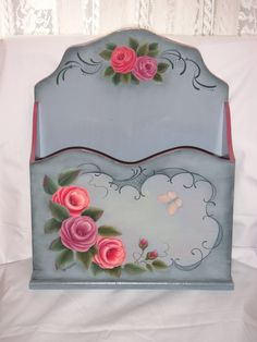 Beautiful! blue letter box with painted pink roses
