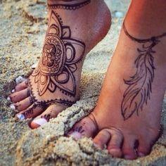 Maori and feather Tattoo foot - http://tattootodesign.com/maori-and-feather-tattoo-foot/ | #Tattoo, #Tattooed, #Tattoos