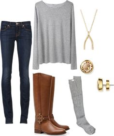 Winter fashion skinny jeans riding boots stripped shirt gold wishbone necklace