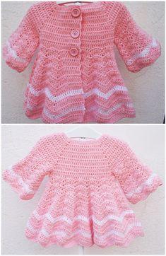 Crochet Lovely Coat For Baby Girl Source by crochetmarry Coat Crochet Bebe, Baby Girl Crochet, Crochet Baby Clothes, Free Crochet, Knit Crochet, Crochet Ideas, Crochet Blanket Patterns, Baby Patterns, Knitting Patterns