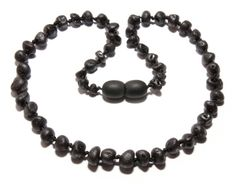 Genuine Raw Baltic Amber Baby Teething Necklace Black by BLTAmber