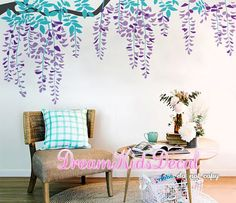 Hanging 3-colored Leaves Wall Decal for Baby Girl Nursery, Vines Decal, Butterflies Wall Sticker-Tree Branch Wall Decals-DK207 The decals can be reversed/mirrored. Just mention it in the message to seller section of checkout. [WHATS INCLUDED IN DECAL PACK] A tree branch 2-colored blossoms leaves Extra Flying birds or butterflies for free Application instruction and small test decal [Colors] Please choose 1 color for the tree trucks, 2 color for heart blossom leaves, 1 color for leaves...