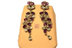 Amethyst And Blue Topaz Chandelier Dangling Earings | Handcrafts of India