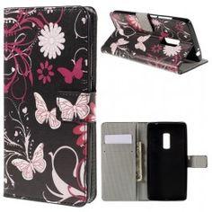 One Plus 2 kukkia ja perhosia puhelinlompakko.