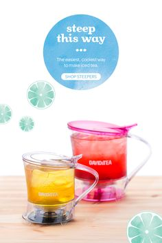 Meet the easiest, most fun way to make iced tea. Once your tea is ready, just put it on top of an ice-filled cup and it pours out the bottom. Ta da!