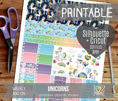 Unicorns Weekly Add-on Printable Planner Stickers Erin