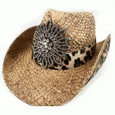 Leopard Rhinestone Flower Cowgirl Hat 2bca4ab5c003