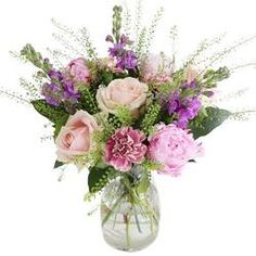 Blush Sweet Avalanche Roses, pink Sarah Bernhardt peonies, pale-pink Antigua Carnations for a sophisticated take on pastels